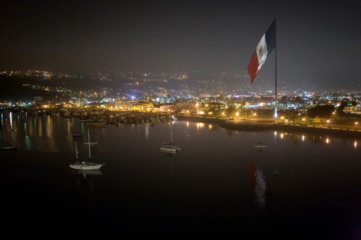 Ensenada Mexico Night Flag by Beau Hudspeth